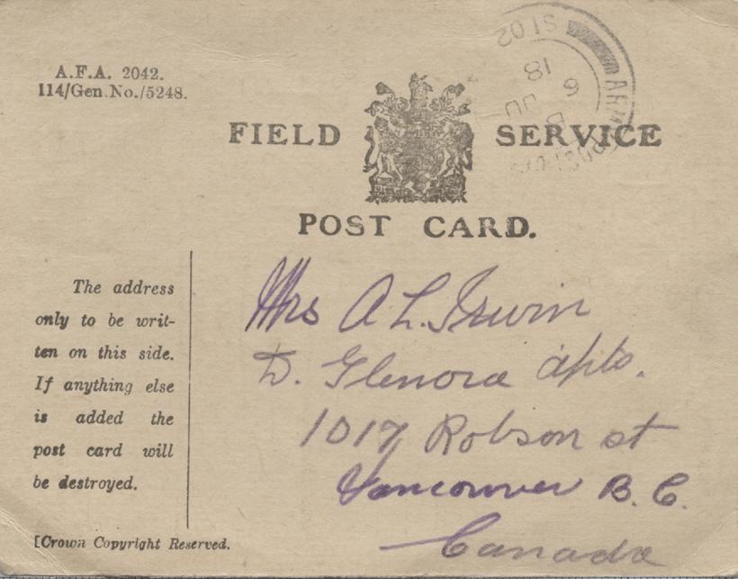 Field Service Postcard, front