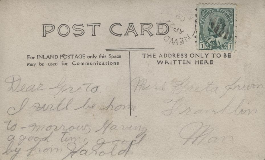 Postcard to Greta, back