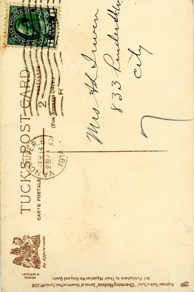 Valentine's Postcard, back