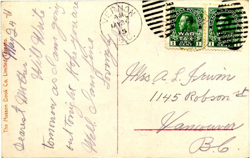 Postcard to Mother, back