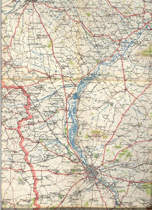 Map of Tournai Belgium July 1912 Middle Right #2