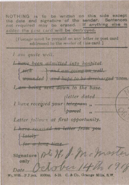 Howard McMaster. October 14, 1918