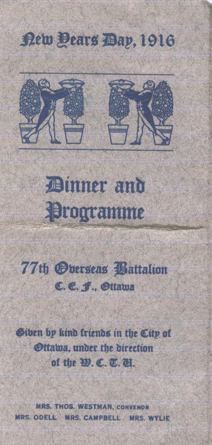 Norris, Louis. January 1, 1916. Front Dinner Program.