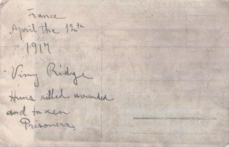 Norris, Louis. April 12, 1917. Back Photograph.