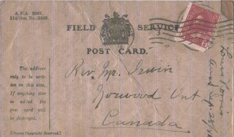 Norris, Louis. September 3, 1914. Front Postcard.
