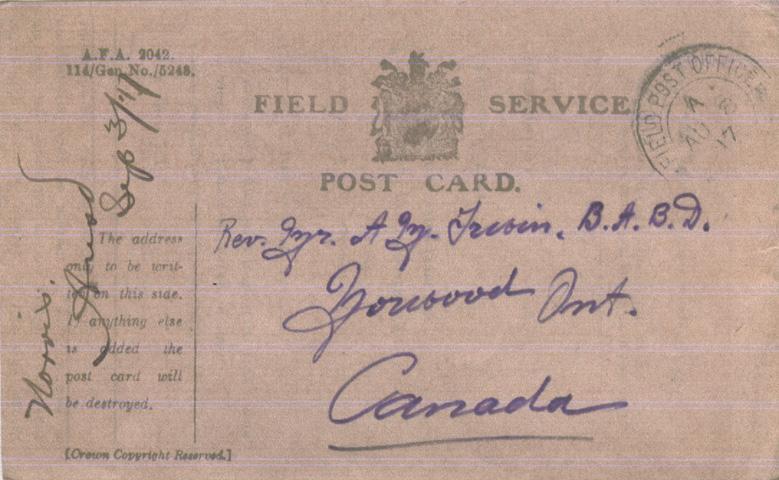 Norris, Louis. August 8, 1917. Front Postcard.