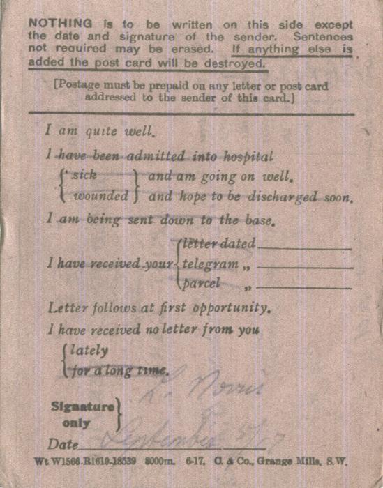 Norris, Louis. September 3, 1917. Back Postcard.