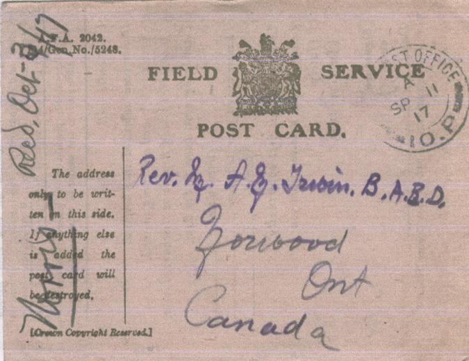 Norris, Louis. September 3, 1917. Front Postcard.