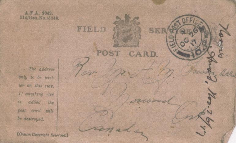 Norris, Louis. October 9, 1917. Front Postcard.