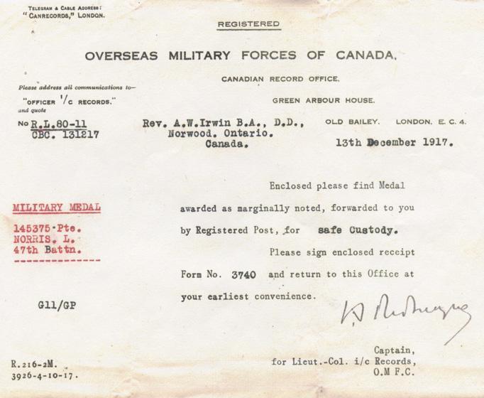 Norris, Louis. December 13, 1917. Telegram regarding his medals.