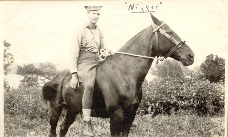 """Calder and his  Horse """"Nigger"""" Front"""