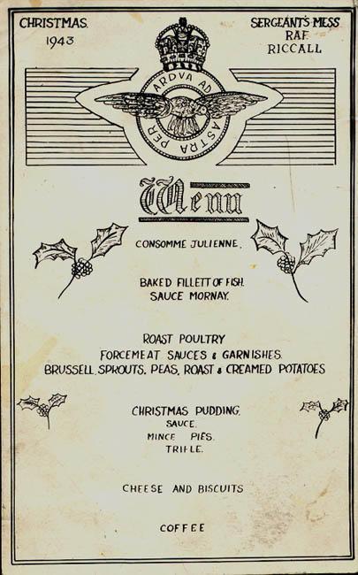 RCAF Christmas menu - 1943