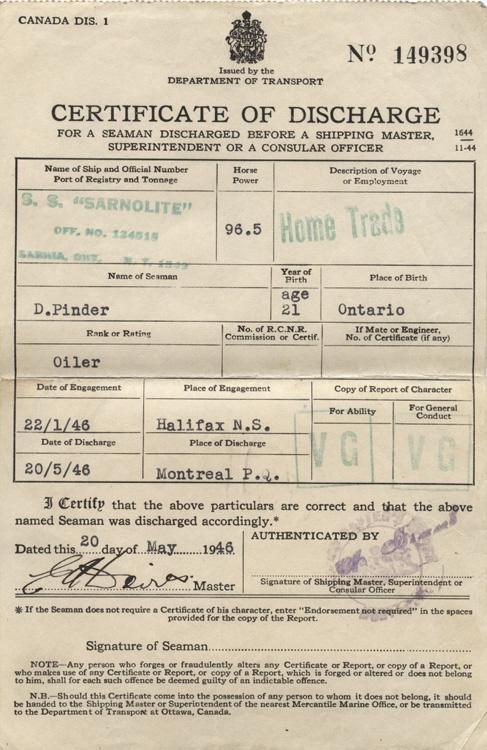 Certificate of discharge 1946