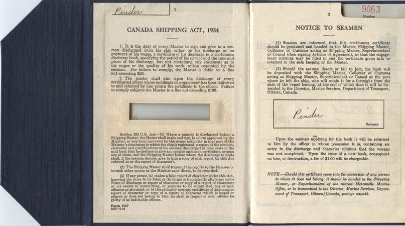 Pinder. Discharge certificate. pp.1-2
