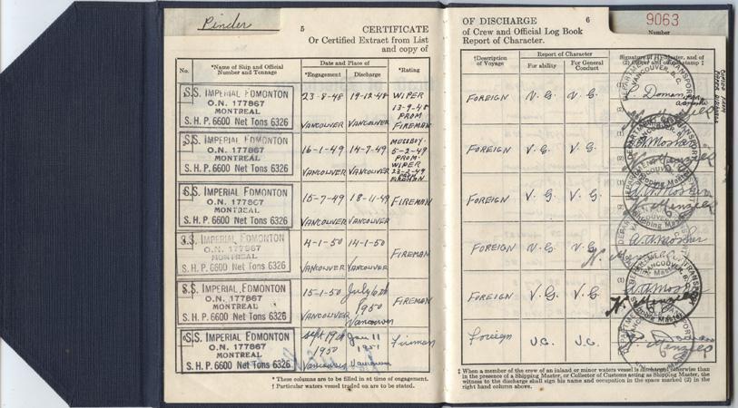 Pinder. Discharge certificate. pp.5-6
