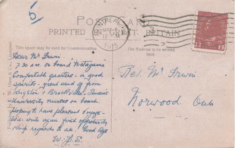 Stares, William James. Postcard, back, 1915.