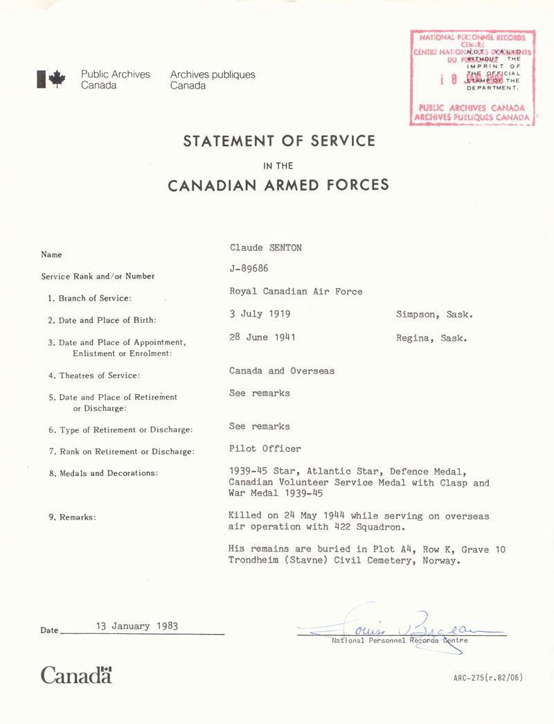 stmt of Service - 1